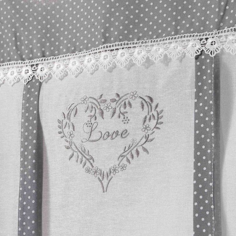 Home Love Embroidered Voile Tie Up Blind With Slot Top