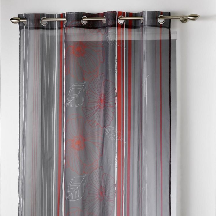 solana striped floral eyelet voile panel red. Black Bedroom Furniture Sets. Home Design Ideas