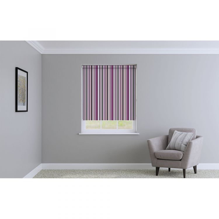 Henley Striped Roller Blinds Purple Tonys Textiles