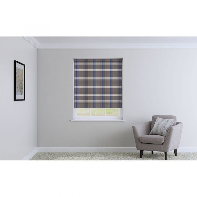 Highland Check Roller Blinds Blue Tonys Textiles