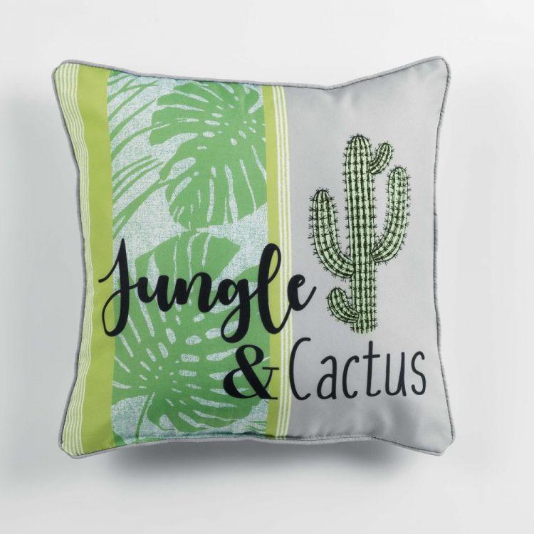 Jungle Cactus Filled Cushion Piping Green Tonys