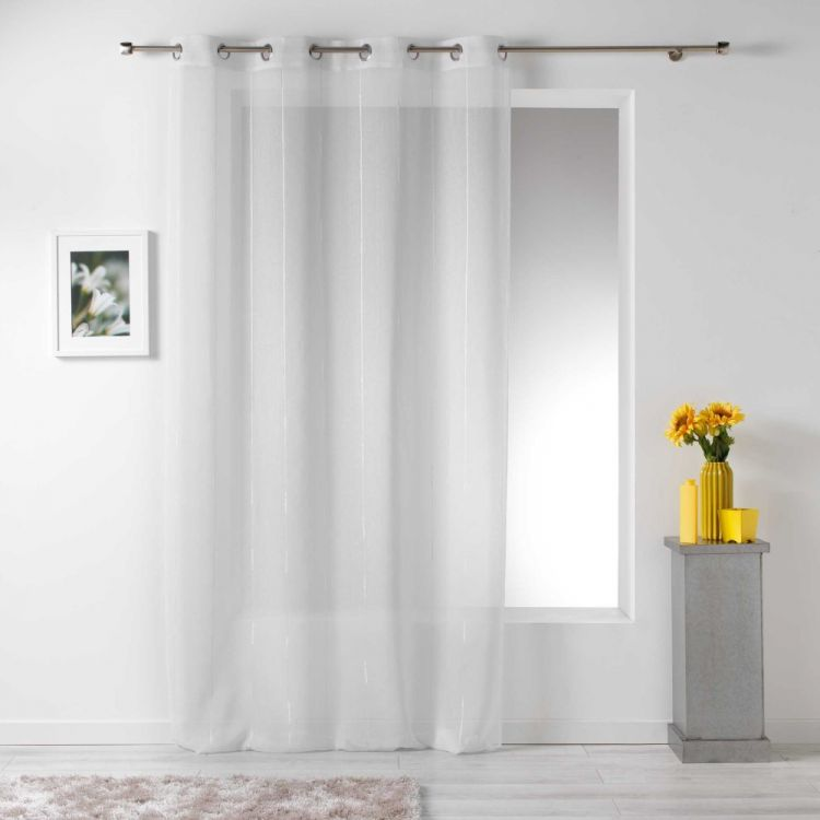 Linahe Chenille Eyelet Voile Curtain Panel White