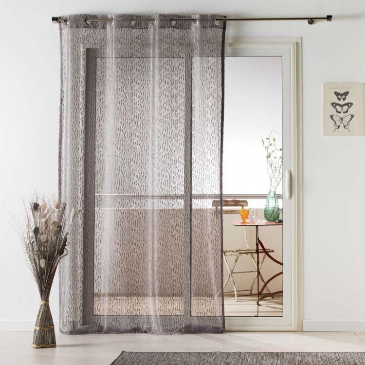 Loria Mesh Eyelet Voile Curtain Panel Taupe