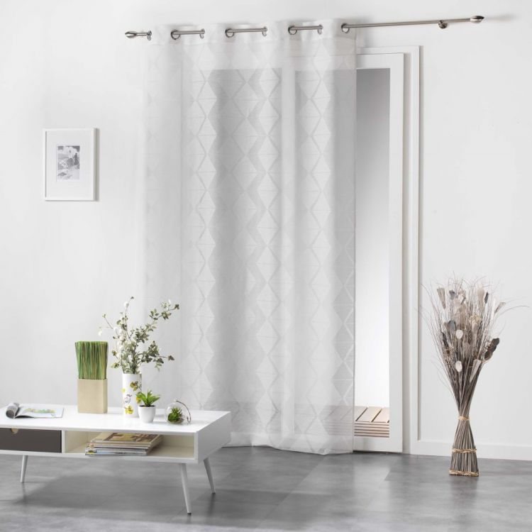 lozae geometric eyelet voile curtain panel white. Black Bedroom Furniture Sets. Home Design Ideas