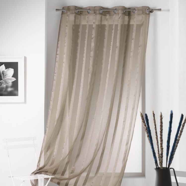 Malta Striped Eyelet Voile Curtain Panel Taupe