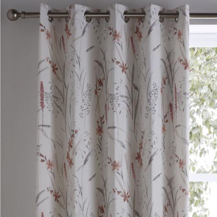 Celine Floral Fully Lined Eyelet Curtains Natural