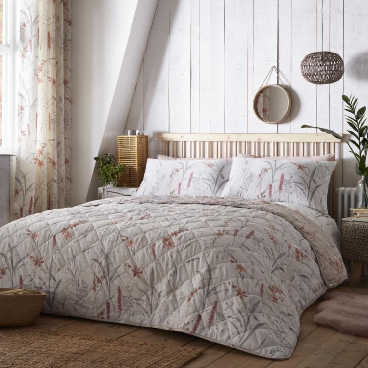 Celine Floral Quilted Bedspread Natural Tonys Textiles