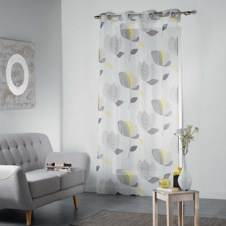 Mylae Floral Eyelet Voile Curtain Panel Yellow