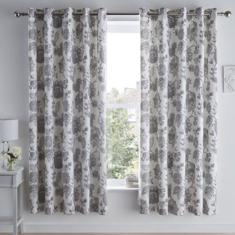 Marinelli Floral Fully Lined Eyelet Curtains Grey