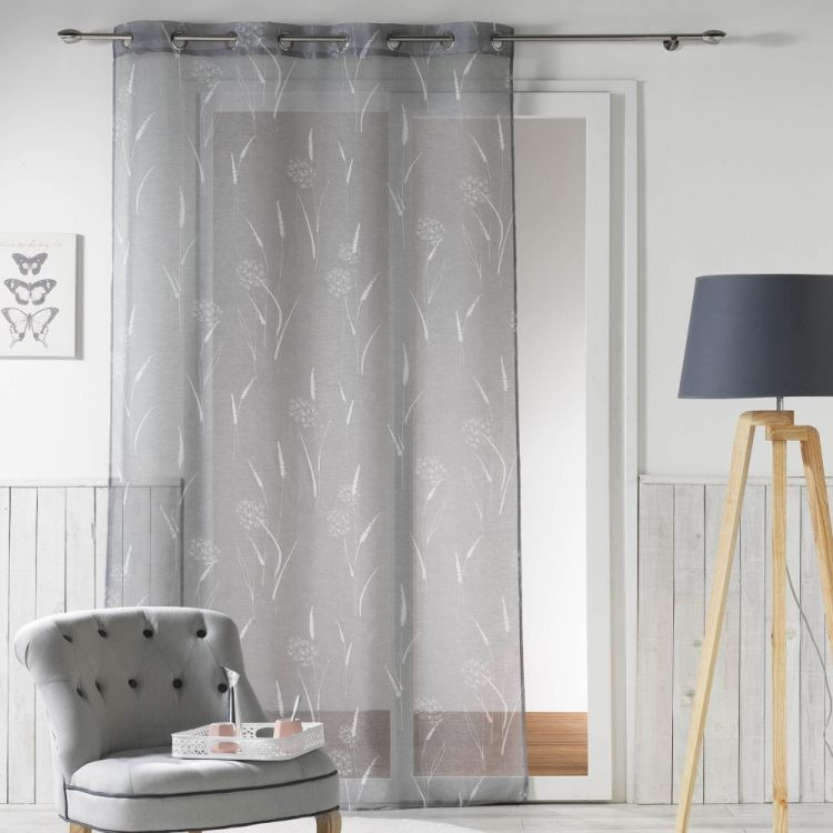naturea floral eyelet voile curtain panel grey. Black Bedroom Furniture Sets. Home Design Ideas