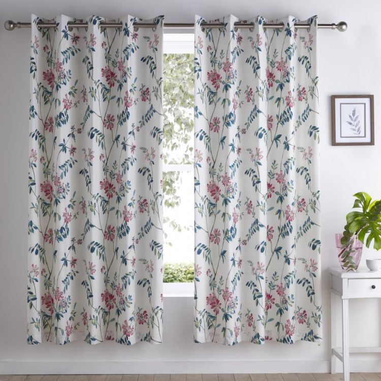 Marldon Floral Fully Lined Eyelet Curtains Multi