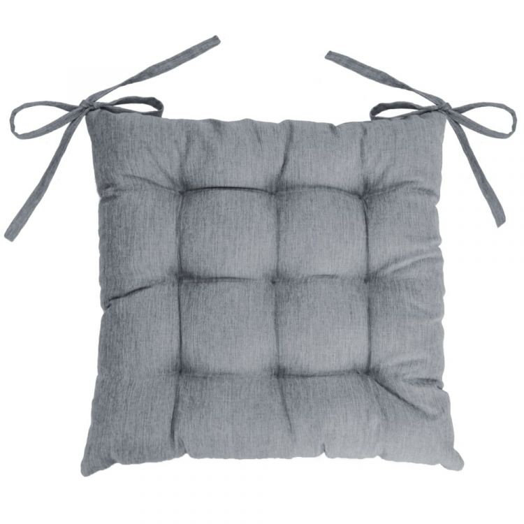 Chambray Newton Quilted Chair Seat Pad Grey Tonys