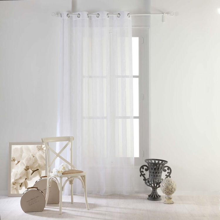 nuage striped eyelet voile curtain panel white. Black Bedroom Furniture Sets. Home Design Ideas