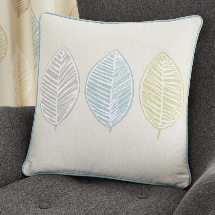 Skandi Leaf Cushion Cover Teal Blue Tonys Textiles