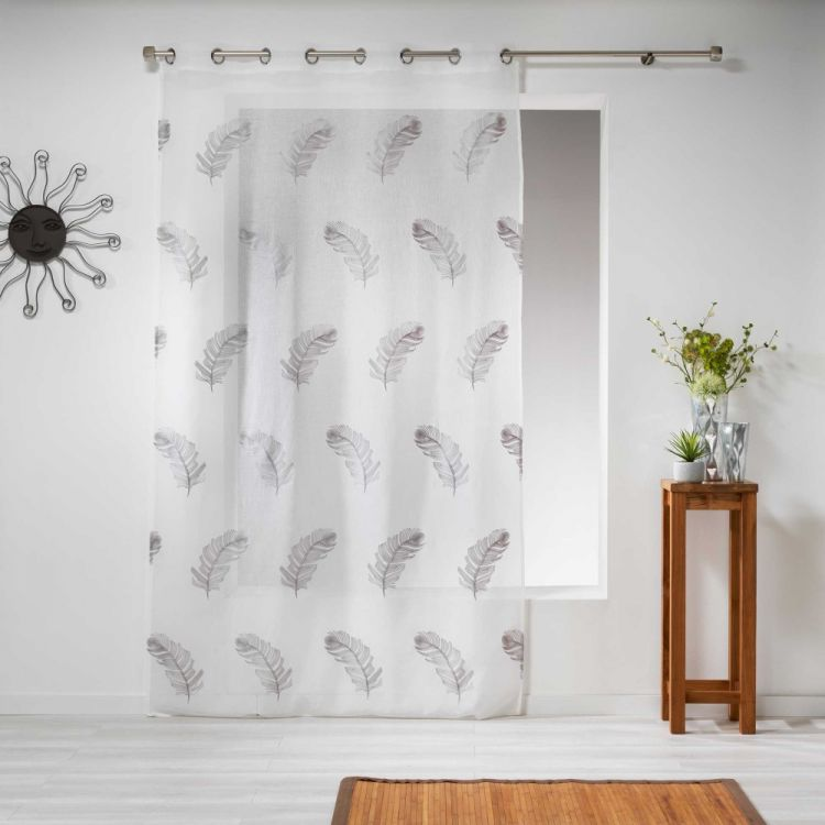 Douce Feather Embroidered Eyelet Voile Curtain