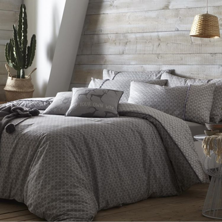 Strata Ethnic Duvet Cover Set Slate Grey Tonys