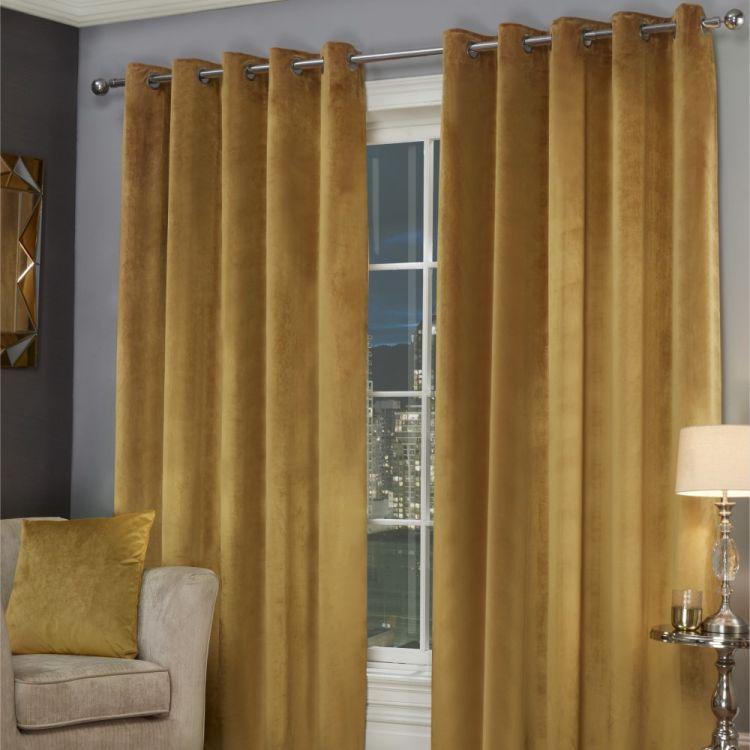 Plush Velvet Fully Lined Eyelet Curtains Ochre