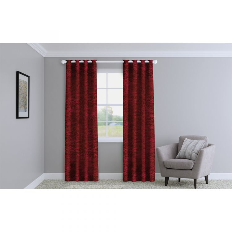 Crushed Velvet Red Made To Measure Curtains