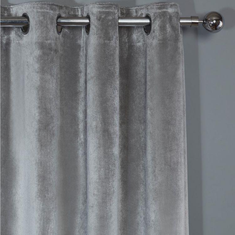 Plush Velvet Fully Lined Ring Top Door Curtain