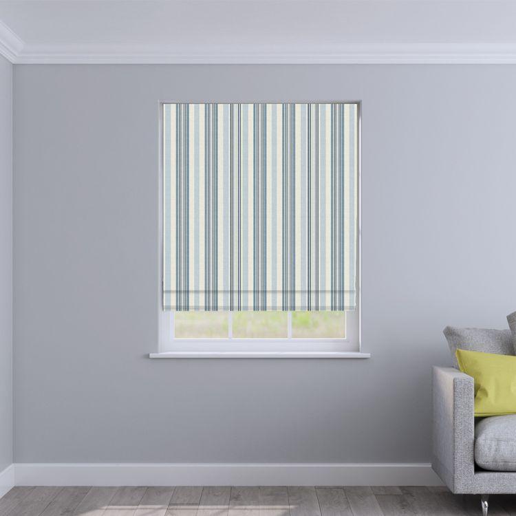 Coastal Stripe 100 Cotton Made To Measure Roman Blinds