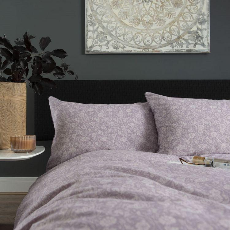 William Floral 100 Cotton Duvet Cover Set Heather