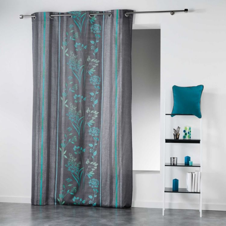 Ariana Striped Floral Ready Made Single Eyelet Curtain Panel