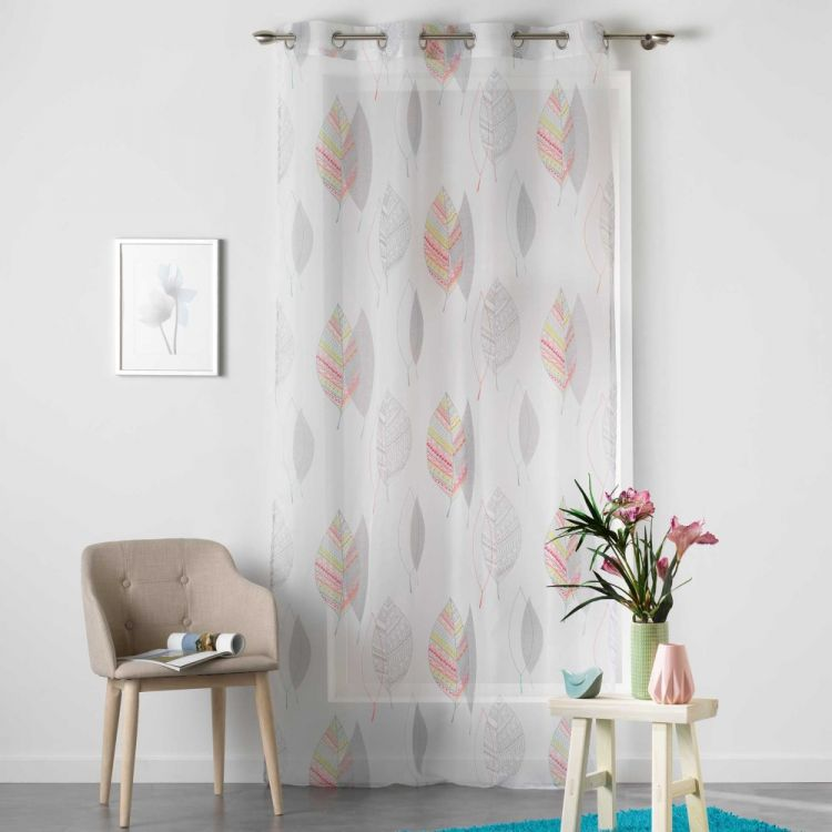 Belinda Leaves Eyelet Voile Curtain Panel Multi