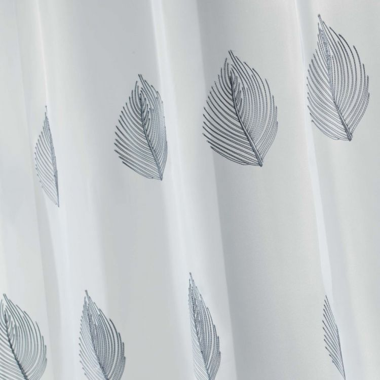 Eliza | Embroidered Leaves | Eyelet Voile Curtain Panel |Grey