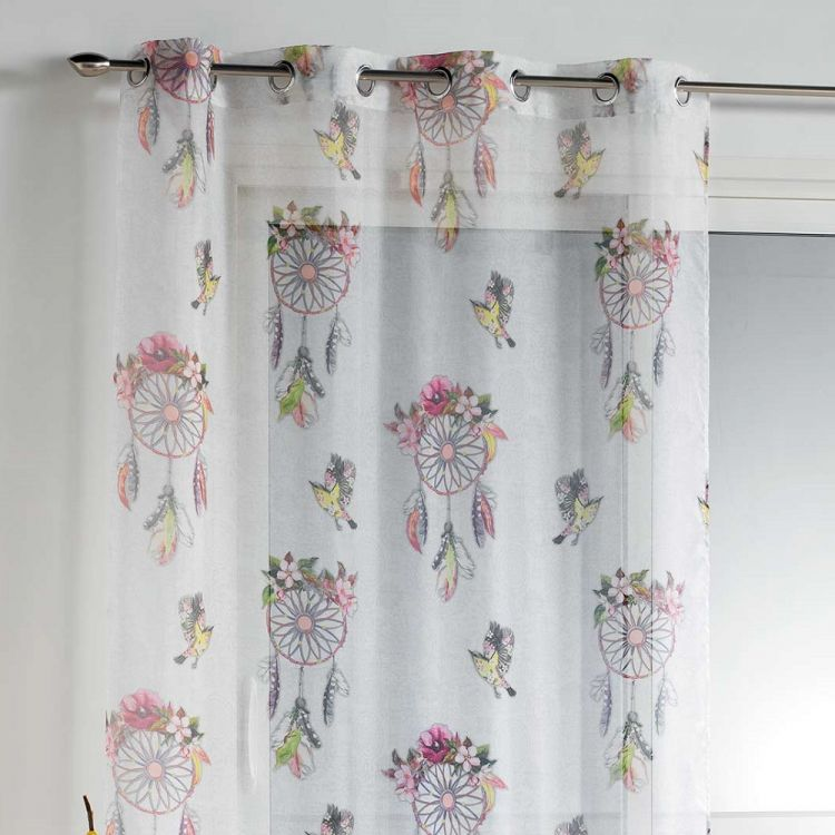 Bohemia Floral Voile Panel With Eyelet Top Pink