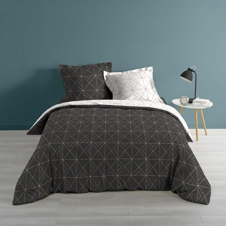 Luxury Quadris Geometric Charcoal Grey Duvet Cover Set