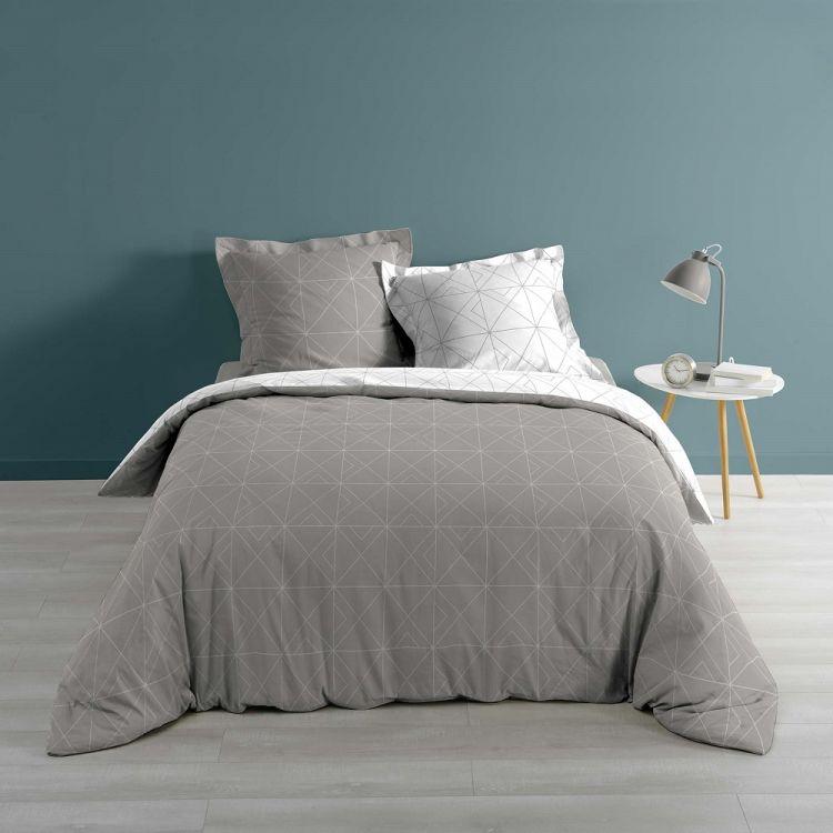 Luxury Quadris Geometric Grey Duvet Cover Set With