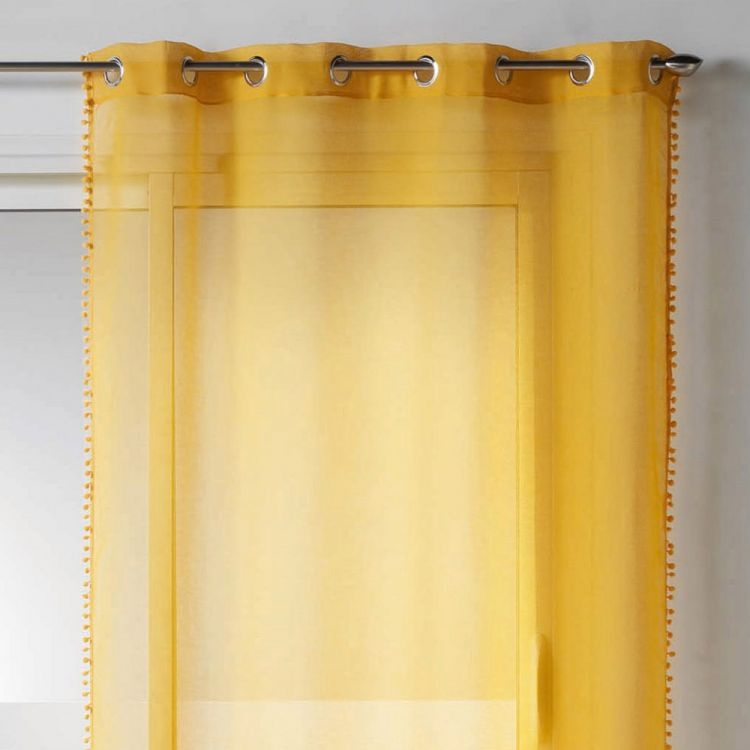 Galoni Eyelet Voile Curtain Panel With Pom Pom Edging