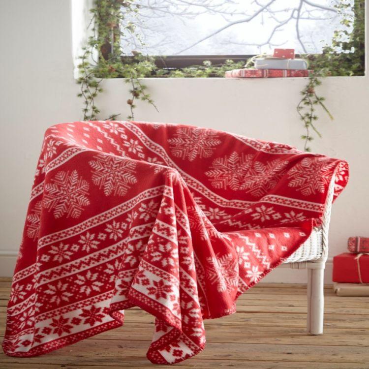 Alpine | Snowflake | Christmas | Blanket | Throw | Red | Tonys Textiles