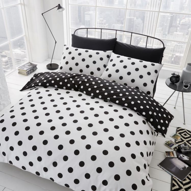 polka dot duvet cover set black white tonys textiles. Black Bedroom Furniture Sets. Home Design Ideas