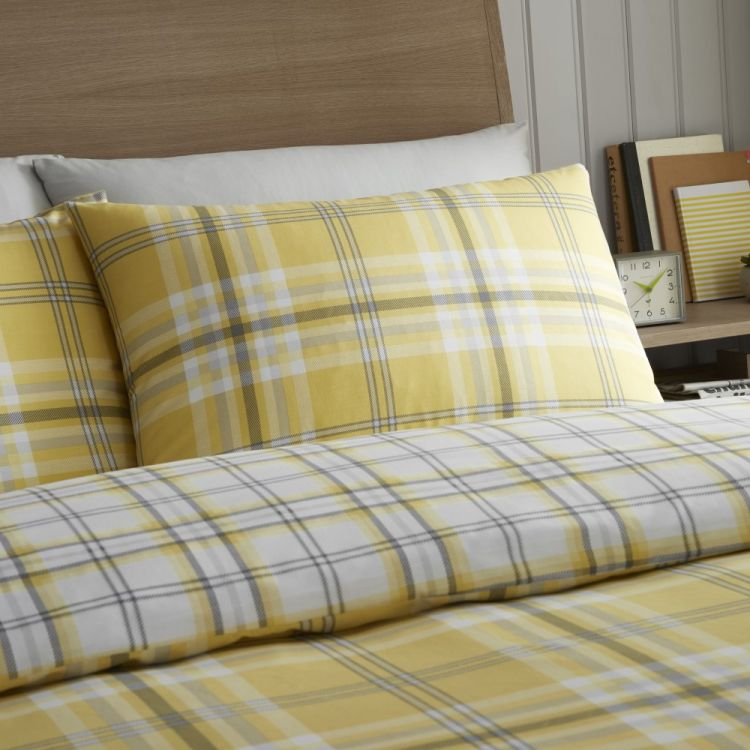 Kelso Check Duvet Cover Set Ochre Yellow Tonys Textiles