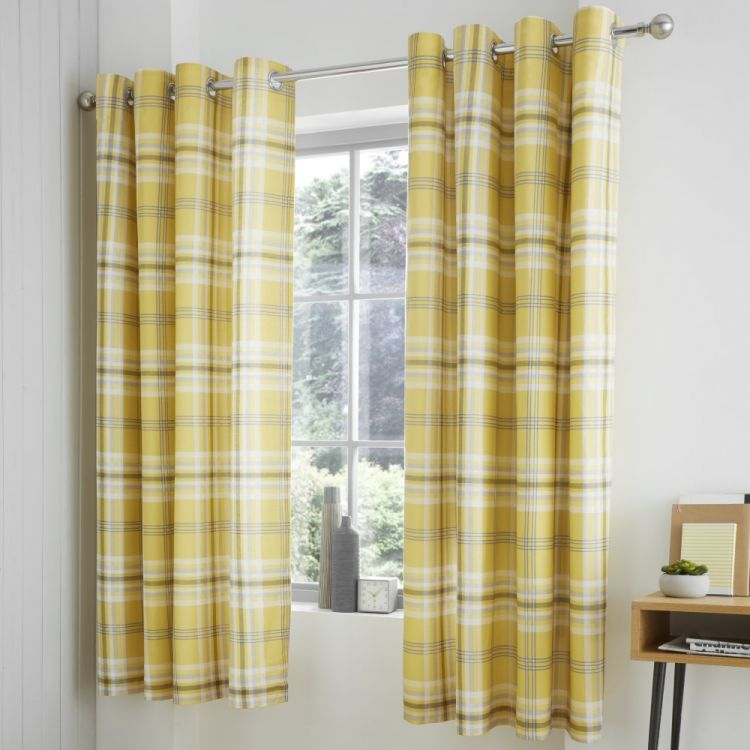 Catherine Lansfield Kelso Check Eyelet Curtains