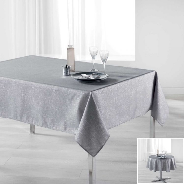 Palacio Silver Printed Tablecloth Grey Tonys Textiles