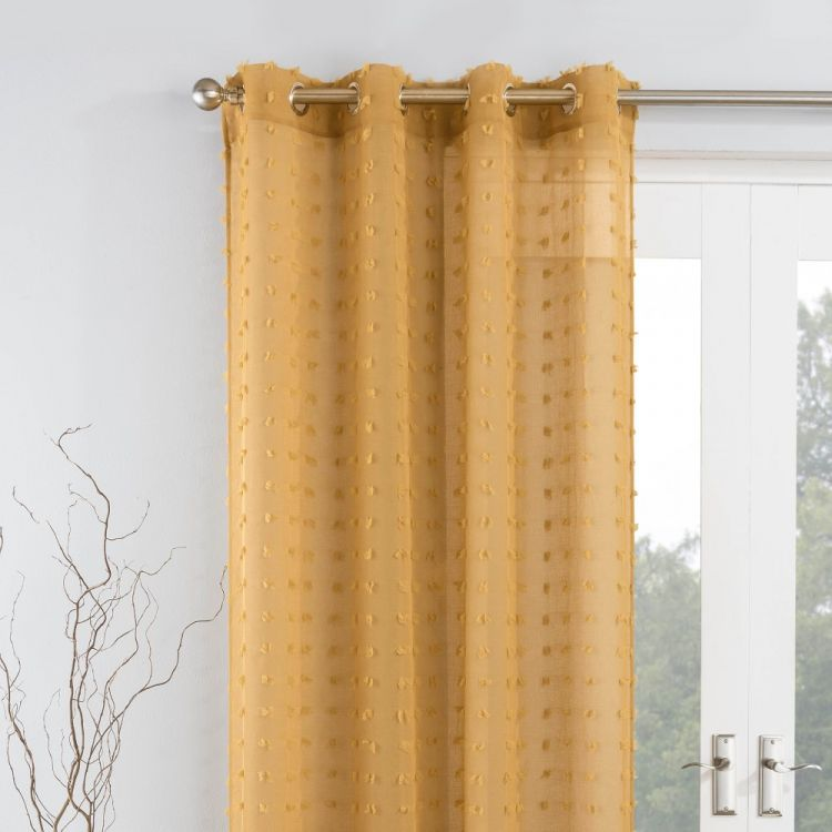 bali pom pom voile eyelet curtain panel honey. Black Bedroom Furniture Sets. Home Design Ideas