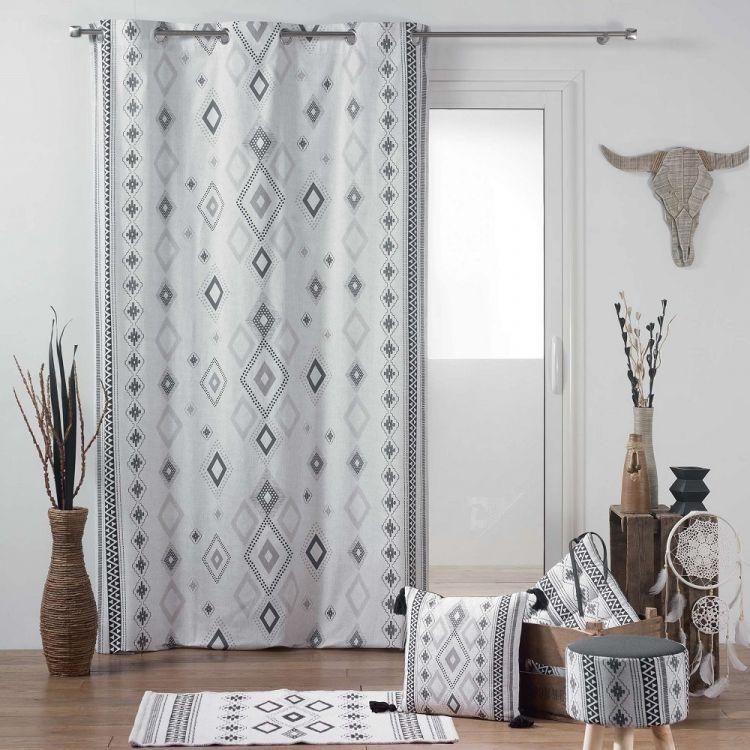 Inca 100 Cotton Eyelet Curtain Panel White Amp Black