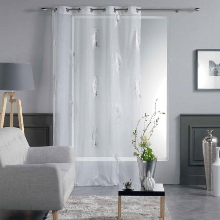 Sensalia Feather Print Eyelet Voile Curtain Panel