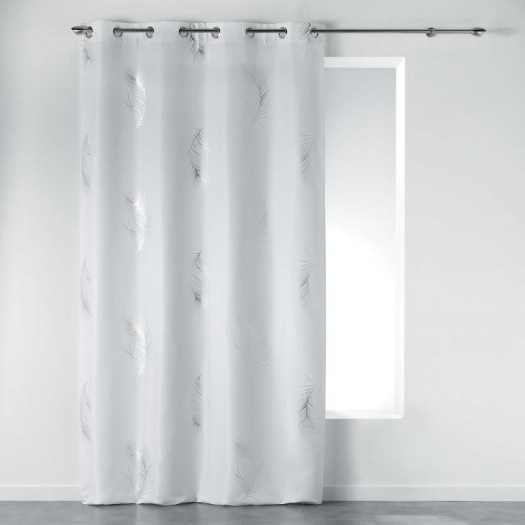 Sensalia Feather Print Eyelet Curtain Panel White