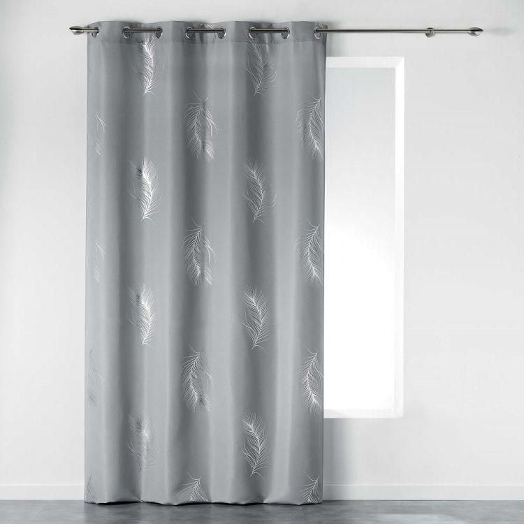 Sensalia Feather Print Eyelet Curtain Panel Grey