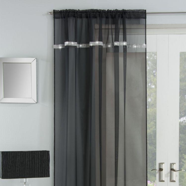 Ibiza Diamante Slot Top Voile Curtain Panel
