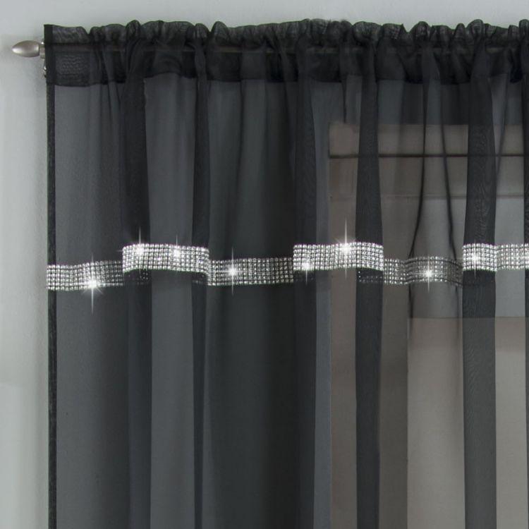 Ibiza Diamante Slot Top Voile Curtain Panel Black Tonys Textiles