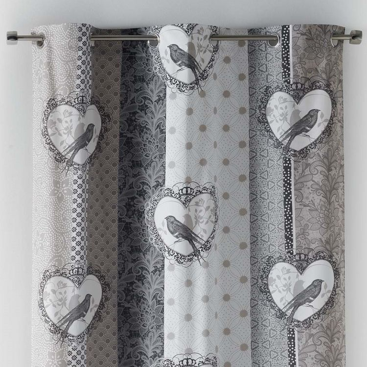 Love Birds 100 Cotton Eyelet Curtain Panel Grey Amp Natural Tonys