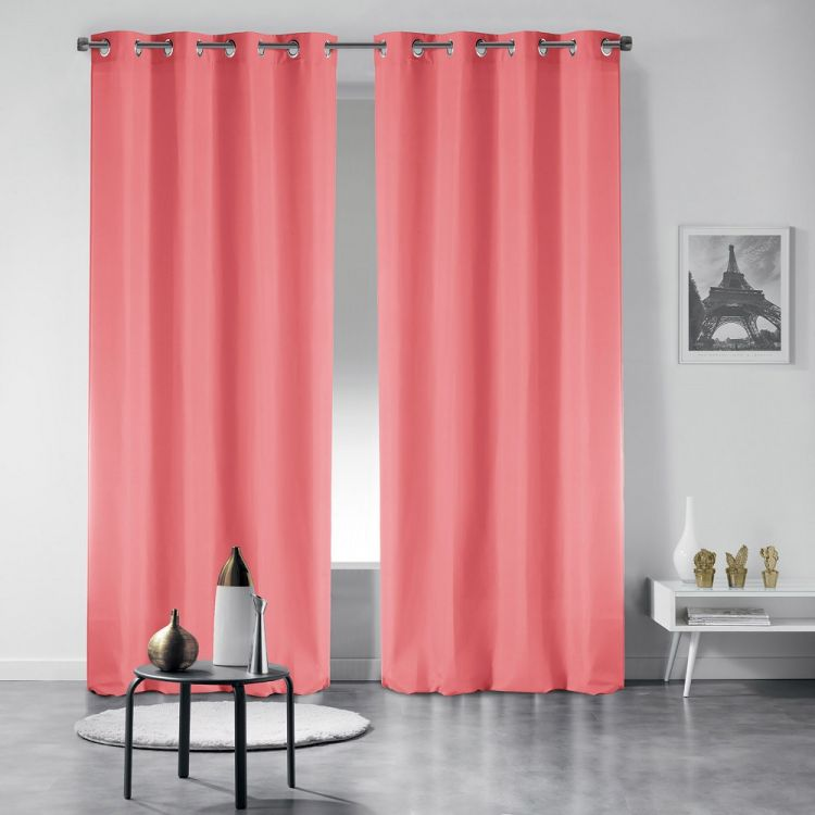 Essentiel Plain Curtains With Metal Eyelets Coral Pink Tonys