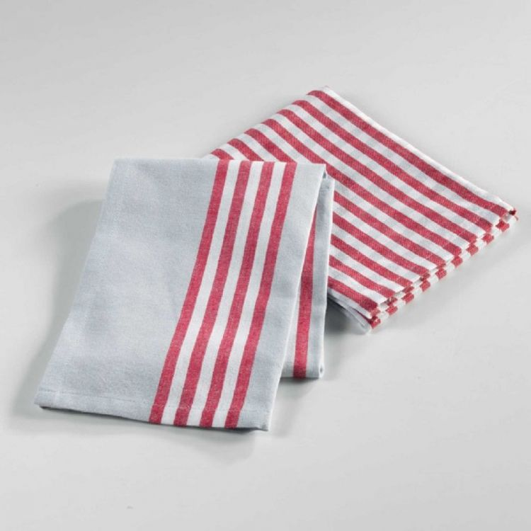 Red Kitchen Towels: Set Of 2 Woven Cotton Kitchen Towels