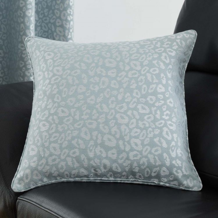 Leopard Print Cushion Cover Duck Egg Blue Tonys Textiles