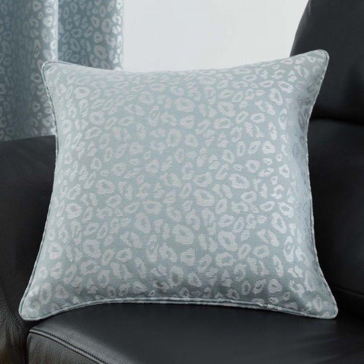 Leopard Print Cushion Cover Duck Egg Blue Tonys Textiles