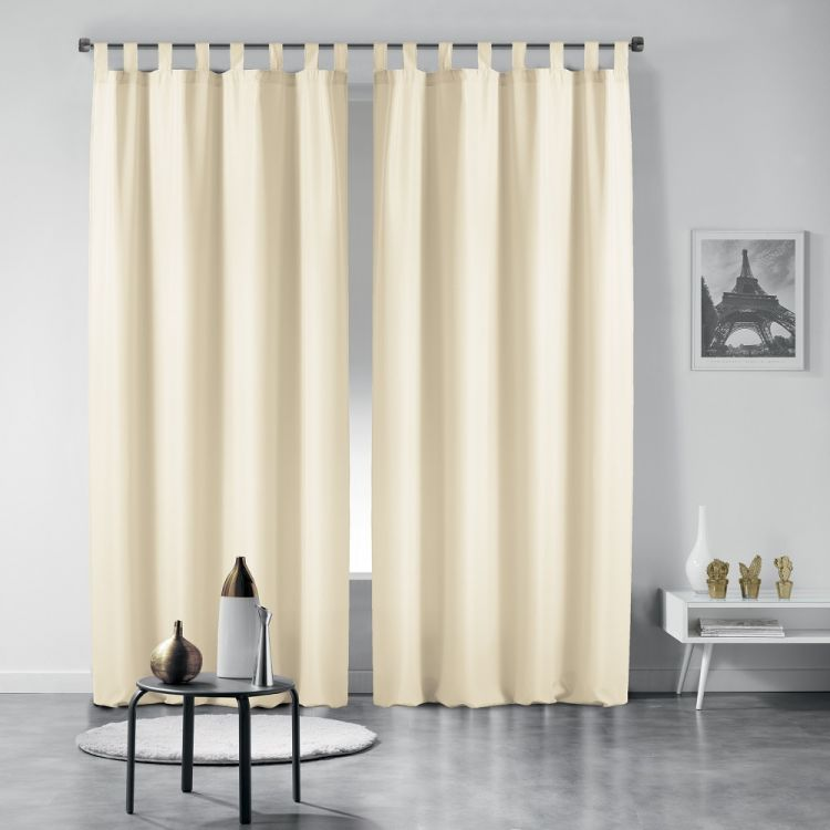 Essentiel Plain Tab Top Curtains Cream Tonys Textiles